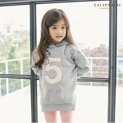 LILIPURRI - Girls Hooded Number-Embroidered Brushed-Fleece Lined Pullover
