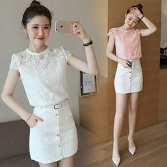 Ashlee - Set: Lace Short-Sleeve Top + Buttoned Skirt