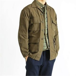 THE COVER - Collared Dual-Pocket Buttoned Jacket