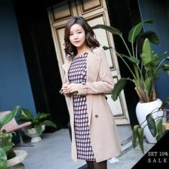 COCOAVENUE - Set: Chiffon Trench Coat + Contrast-Cuff Patterned Dress