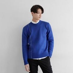 Seoul Homme - Crew-Neck Stitch-Detail Knit Top