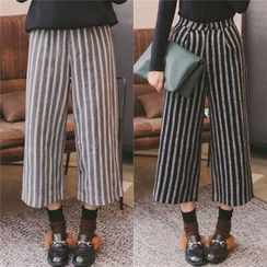 SUYISODA - Striped Cropped Wide Leg Pants