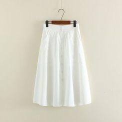 Mushi - Buttoned Midi Skirt