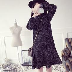 efolin - Dotted A-Line Chiffon Dress