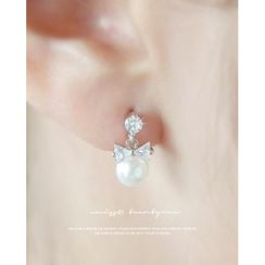 Miss21 Korea - Faux-Pearl Dangle Earrings