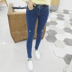 Seoul Fashion - Distressed Skinny Jeans