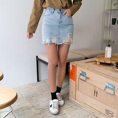 Envy Look - Distressed Denim Skirt