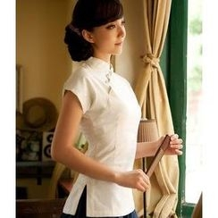 Floral Elegance - Mandarin Collar Short-Sleeve Top