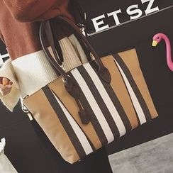 Q.BAISE - Striped Canvas Tote with Shoulder Strap