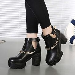 Mancienne - Chain-Accent Buckled Ankle Boots