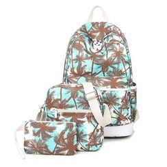 VIVA - Set of 3: Palm Tree Print Backpack + Crossbody Bag + Pouch