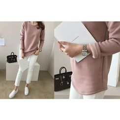 DAILY LOOK - Round-Neck Fleece-Lined Top