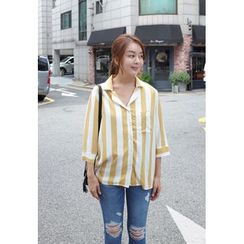 BBORAM - Pocket-Front Pinstriped Shirt