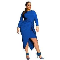 Hotprint - Long-Sleeve Asymmetric Midi Dress
