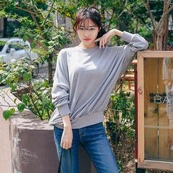 Seoul Fashion - Mock-Neck Drop-Shoulder Pullover