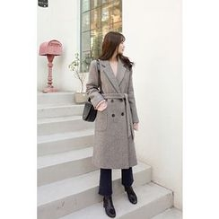 CHERRYKOKO - Notched-Lapel Wool Blend Coat with Sash