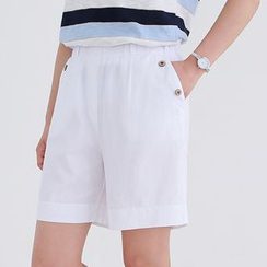 CLICK - Linen Blend Banded-Waist Button-Detail Shorts