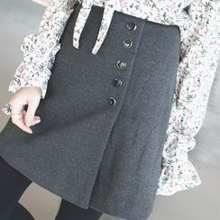 mimi&didi - Buttoned-Detail Wrap-Front Mini Skirt