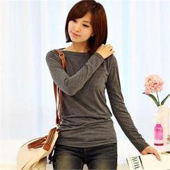 Styleberry - Boat-Neck Long-Sleeve T-Shirt