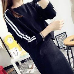 Qimi - Set: Stripe Pullover + Midi Skirt