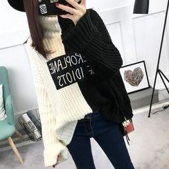Asally - 字母高領寬鬆毛衣