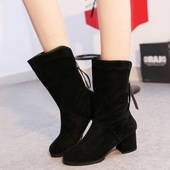 Yoflap - Chunky Heel Faux Leather Boots
