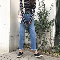 Duterena - 散边直筒九分牛仔裤