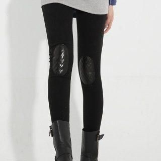 Kiwi Shop - Faux-Leather Knee-Patch Leggings