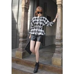 REDOPIN - Belted Check Peplum Blouse