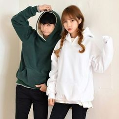 TOMONARI - Couple Hooded Brushed-Fleece Lined Pullover