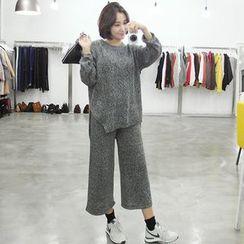 Seoul Fashion - Set: Mélange Knit Top + Wide-Leg Pants