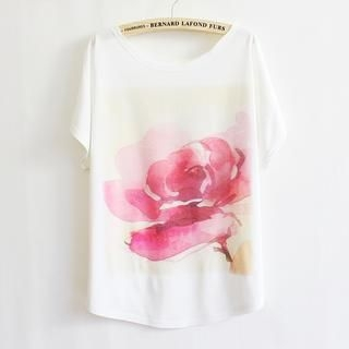 LULUS - Flower-Print Loose-Fit T-Shirt