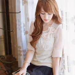 Tokyo Fashion - Bow-Accent Lace Panel Knit Top