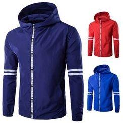 Fireon - Lettering Striped Hooded Jacket