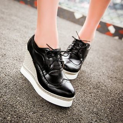 JY Shoes - Wedge Lace-Up Oxfords