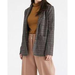 Someday, if - Dual-Pocket Single-Breasted Plaid Jacket