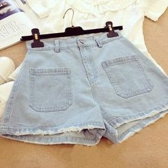 CosmoCorner - High-Waist Denim Shorts