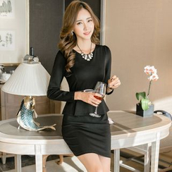 Dimanche - Long-Sleeve Peplum Dress