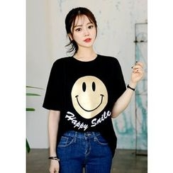 DEEPNY - Smiley Elbow-Sleeve T-Shirt