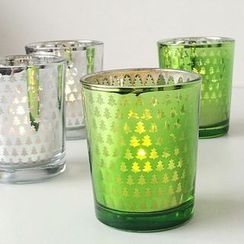 Thula Design - Christmas Tree Print Glass Candle Holder