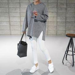 STYLEBYYAM - Hooded Slit-Side Knit Pullover