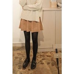 CHERRYKOKO - Faux-Suede Mini Flare Skirt
