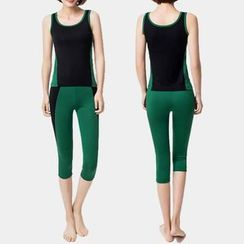YANBOO - Set: Contrast Trim Tank Top + Cropped Yoga Pants