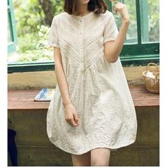 微米家 - 短袖蕾絲連衣裙