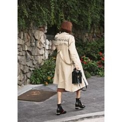 ssongbyssong - Double-Breasted Flap-Front Trench Coat With Belt
