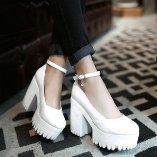 Pangmama - Ankle-Strap Chunky Heels