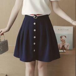 Munai - Buttoned A-Line Skirt