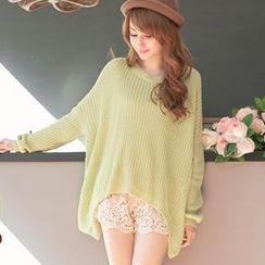 Tokyo Fashion - Long-Sleeve Asymmetric-Hem Knit Top