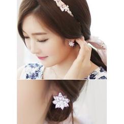 kitsch island - Rhinestone Flower Earrings