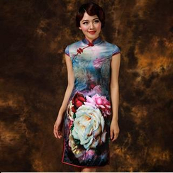 Miss Four Qipao - Flower Print Cap-Sleeve Cheongsam